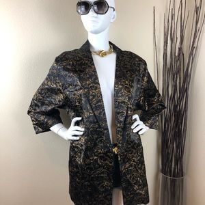 Vintage Black with Gold Leaf Detail Thin Blazer
